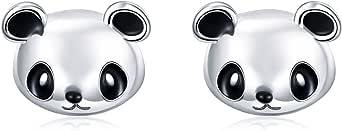 Qings Orecchini Panda Donna in Argento Sterling 925 -- Orecchini con Animali per Donna Bambina, Orecchini a Bottone Ossidati