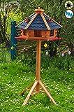 PREMIUM Vogelhaus, groß, XXL mit Anflugbrett / Landebahn, Massivholz,wetterfest, mit Silo/Futtersilo für Winterfütterung,Gartendeko aus Holz blau mit Ständer blaue BGA60blMS, Futterhaus