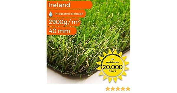 F/ür Balkon Terrasse und Garten Premium Kunstrasen Ireland Unglaubliche 40 mm dick und bis 5 m Breite erh/ältlich Gr/ö/ße: 100x200 cm