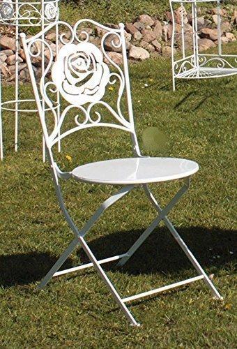Romantik Gartenstuhl 'Rose' Garten Klappstuhl, Balkonstuhl, Stuhl Weiß