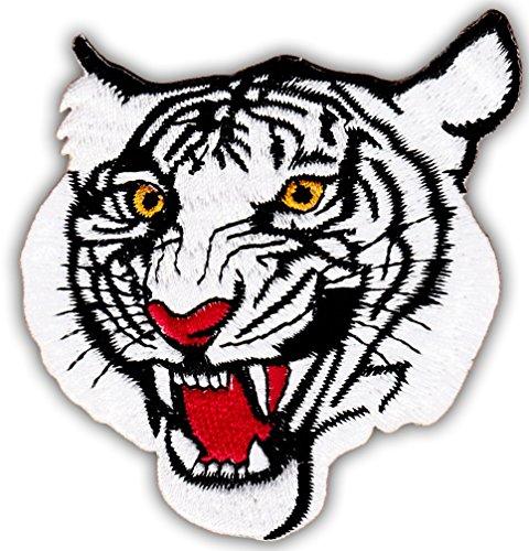 Aufnäher Bügelbild Aufbügler Iron on Patches Applikation weißer Tiger Kopf Tigerkopf Raubtier