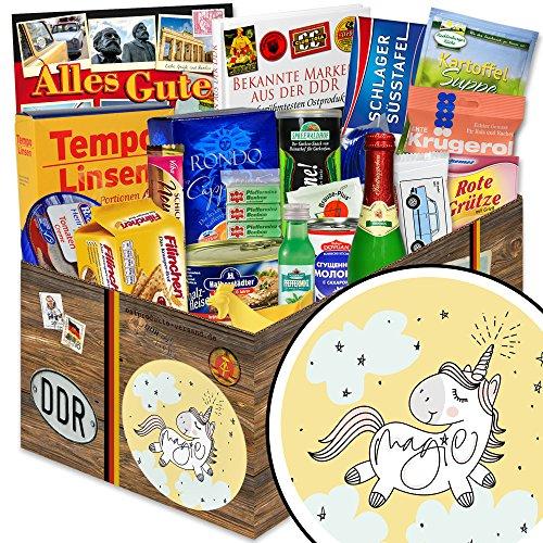Einhorn | Ossi Produkte | DDR Spezialitäten-Box XXL mit Pfeffi Likör, Filinchen Knusper, Halberstädter Schmalzfleisch, rote Grütze Himbeer (Lebensmittel-geschenk-körbe Prime)