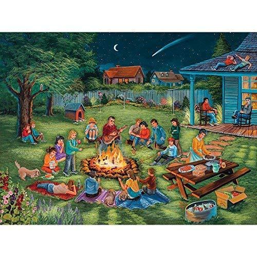Bits and Pieces 300 Große Teile Puzzle für Erwachsene Sommer Erinnerungen 300 Pc sitzen am Lagerfeuer Jigsaw by Artist Christine Carey (Puzzle-teile Große)