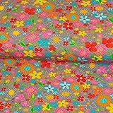 Stoffe Werning Baumwolljersey Flower Power grau bunt Blumen Kinderstoffe Modestoffe Öko-Tex - Preis Gilt für 0,5 Meter