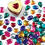 Large Self-Adhesive Acrylic Jewels Assorted Designs and Sizes for Collage, Card Making, Children's Arts & Crafts (Pack of 120)