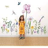 decalmile Muurstickers Tuin Bloemen Muurtattoo Narcissus Iris Libel Wanddecoratie Woonkamer Slaapkamer TV Achtergrond