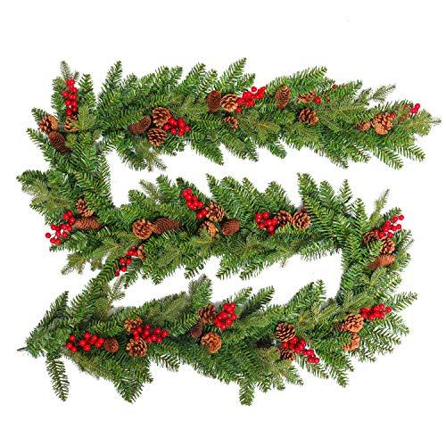 HENGMEI 300cm Weihnachtskranz Türkranz Dekokranz Weihnachtsgirlande PVC Tannengirlande Weihnachtsdeko Tannenkranz (A, mit groß Tannenzapfen und Beere, 300cm)