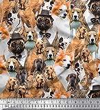 Soimoi Orange Baumwoll-Popeline Stoff Mops, Beagle &