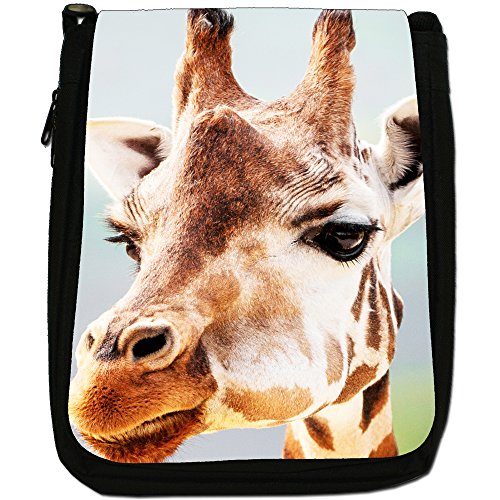 African giraffa Medium Nero Borsa In Tela, taglia M Close Up Of A Giraffe Face