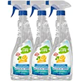 Natural Life FDA Approved Kills 99.9% Germs Disinfectant Surface Sanitizer Spray, 500 ML Citrus (Pack of 3)