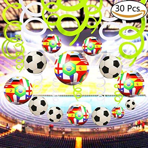Dekorationen 30pcs Fußball Fußball Folie Decke Hängende Swirl Dekorationen Spiral Streamer Home Bar Dekoration Fußball Thema Party Supplies für 2018 World Cup Party Geburtstag Graduation Party Decor (Hängende Dekorationen)
