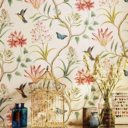 rustikale Schale und Stick Tapete Roll Vintage Floral Vlies selbstklebende Schmetterling Vögel Kontakt Papier Wand Papier für Schlafzimmer Wohnzimmer Wand Kunst Dekor ()