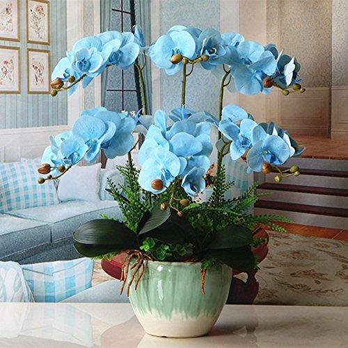 Jnseaol Kunstblumen Orchidee Keramiktopf Diy Hochzeit Hotel Party Küche Fensterbank Eine Große Dekoration Muttertag Geschenk Blau -10