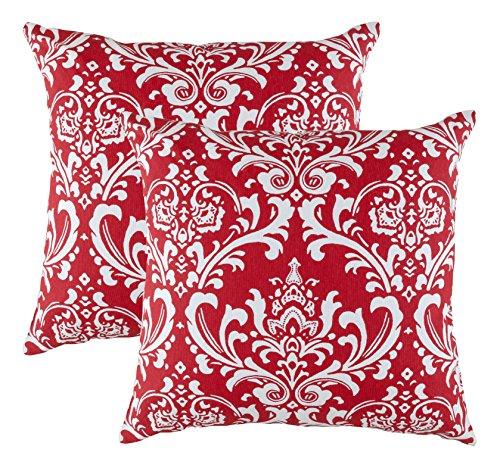 treewool, (2Stück) Damast 45,7x 45,7cm Baumwolle Accent dekorativer Überwurf-Kissenbezug Kissen Fällen, baumwolle, rot, 22 x 22 cm (22 22 Dekorative Kissen X)