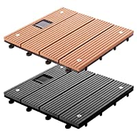 casa pura WPC Interlocking Garden & Terrace Decking Tiles, Dark Grey with LEDs - 4 Tils 30x30cm Multiple Tile Sets Available