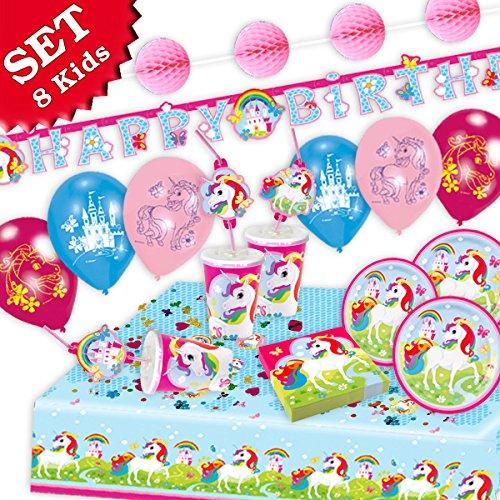 EINHORN Regenbogen Geburtstag-Deko-Set, 62-teilig zum Kindergeburtstag Mädchen und EINHORN Motto-Party für 8 Kids