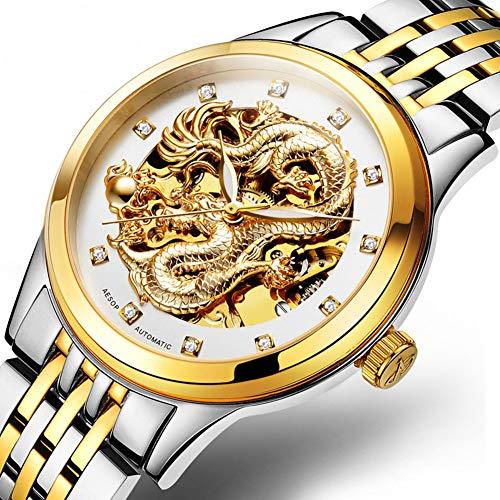 GYJUN Automatische mechanische Wasserdichte Uhren für Männer, Mode Golddrache Eingelegter Zirkon Leuchtzifferblatt mit goldenem Edelstahlarmband,GY_A
