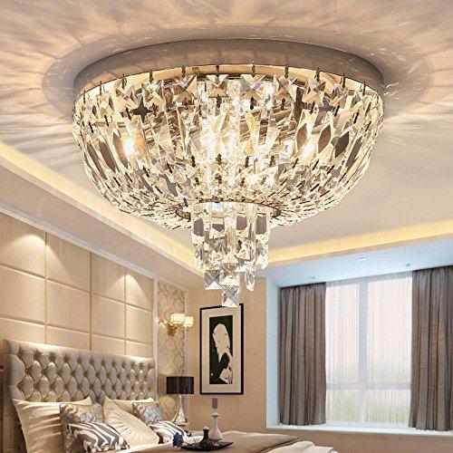 Luxus Deckenleuchte Kronleuchter moderne Kristall rund, klare Kristalltropfen, Chic-Stil goldenes Metall Barock 1-flammig, LED 5 W Ø35CM [Energieklasse A++] -