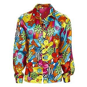 WIDMANN 7399M adultos Disfraz Flower Power Camisa para hombre, multicolor, XXL