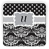 "Rikki Knight Initial ""U"" Damask Dots Design Square Fridge Magnet, Grey/Black"