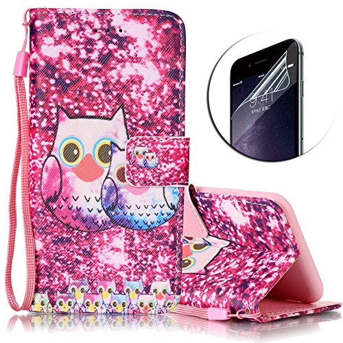 iPhone 6S Hülle,iPhone 6 Ledertasche,Sunroyal Kunstleder Flip Case Schutzhülle Lila Cute Cool Elegant Retro Bling Eule Muster Painted PU Leder Wallet Case Flip Cover im Bookstyle Handytasche Skin Schale Brieftasche mit Strap Magnetverschluss Standfunktion und Karte Halter Etui Handyhülle für Apple iPhone 6S/6 (4.7 Zoll)+ 1 x Frei Displayschutzfolie-Owl