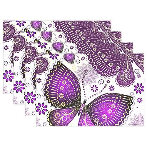 Butterfly Esstisch Set (mydaily Schönes violett Butterfly Flower Tischsets für Esstisch Set von 4hitzebeständig waschbar Polyester Küche Tisch MATS, Polyester, multi, 12 x 18 inch)