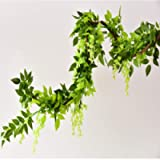 Yueshop 2x7FT Artificial Wisteria Vine Garland Plants Flowers Arts For Ceremony Home Wedding Decoration (Green)