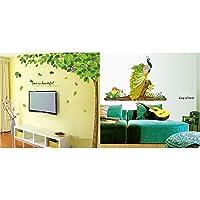 Decals Design 'Bestselling Leaves Tree' Wall Sticker (PVC Vinyl, 90 cm x 60 cm, Multicolour) & 'Peacock Bird' Wall Sticker (PVC Vinyl, 60 cm x 90 cm, Multicolour) Combo