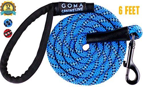GOMA Starke Kaufeste Reflektierende Hunde Trainingsleine / Hundeleine - 100% Nylon - Erhöhte Sicherheit für das Gassigehen bei Nacht - Für Kleine, mittlere und große Rassen - ergonomischer!