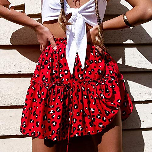 XGDLYQ Lace Up Red Leopardenmuster Röcke Frauen Rüschen Eine Linie Hohe Taille Röcke Sommer Frühling Casual Rock L Rot (Lace-up-rock)