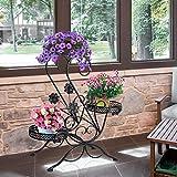 Blumenständer für 3 Blumentöpfe, 3 Etagen, dekoratives Design, Metall, Garten/Terrasse (Schwarz)