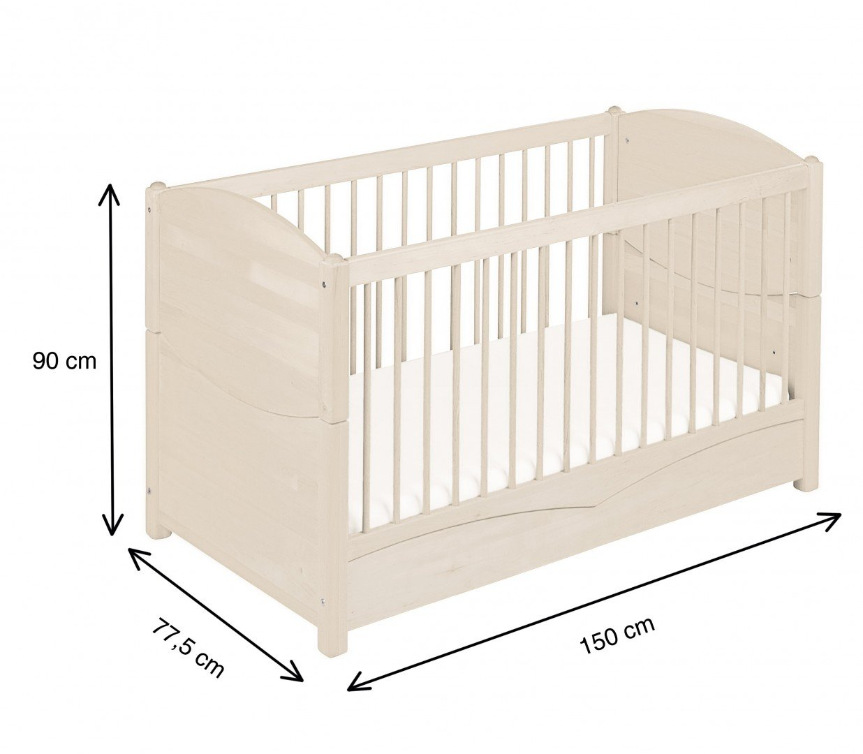 BioKinder 22128 Bed for babies and toddlers Luca from biological wood Bio-Kinder Bed Luca for Babies and Toddlers Adjustable height. 3 removable bars. Various features Sustainable solid biological wood (alder/pine). Biological finish 5