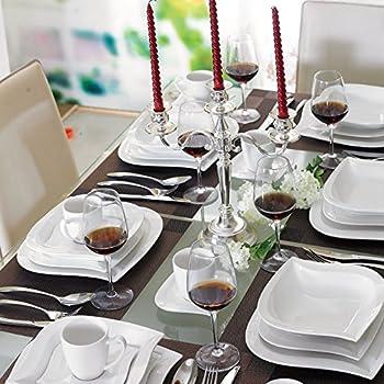 80tlg komplett service geschirr tafelservice kombiservice rot weiss eckig f 12 personen. Black Bedroom Furniture Sets. Home Design Ideas