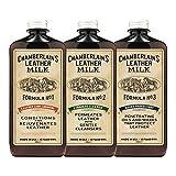 Chamberlain's Leather Milk - Set de restauración de cuero - Limpiador, acondicionador e impermeabilizante naturales - No. 1, 2 y 3 - Con 3 almohadillas de restauración - 0.35 L