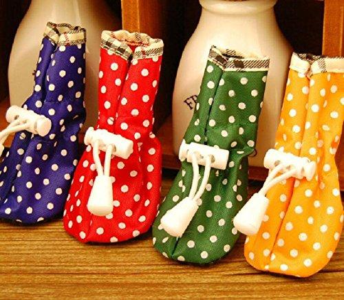 WYXIN Dot Pet Regen Stiefel Oxford Tuch Wasserdicht Hund Schuhe Kunststoff Schuhe Füße Set , red , 1 -