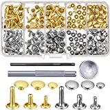 120 Set Leder Nieten Doppelkappe Rivet Buttons mit Einstellung Tool Kit und Aufbewahrungsbox für DIY Lederhandwerk, 3 Größen (Silber und Gold)