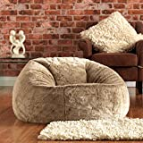 ICON XL Panelled Faux Fur Bean Bag Chair - Extra Large Bean Bags - Large Designer Bean Bags (Mink)