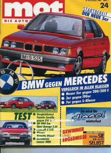 """""""MOT - Die Autozeitschrift"""", Heft 24/1987, Tests: Vergleich VW Golf GT mit Toyota Corolla Liftback GL 1.6 - 30 000 km mit dem Opel Omega 2.0i - Renault 5 GTE - Nissan Vanette - Mitsubishi Lancer Combi 4WD - Evergreen: Borgward Isabella"""