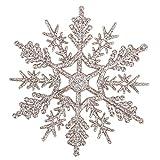 Demiawaking 24pcs Fiocchi di Neve Decorazione dell'Albero di Natale 10cm Fiocco di Neve di Glitter di Plastica Ornamenti Festivi Festa Party Decorazione Domestica (Oro di Champagne)
