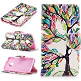Ecoway Painting pattern PU Leather Stand Function Protective Cases Covers with Card Slot Holder Wallet Book Design Case for Moto G5 - Colorful tree