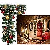 Künstliche Tannengirlande mit Lichterkette, 80 Lichtern 4-6 cm rot gold - Lichter Girlande Lichterkette Innenbeleuchtung Weihnachten Weihnachtsbeleuchtung