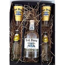 Gin Tonic Set / Geschenkset - The Duke Munich Dry Gin 70cl (45% Vol) + 2x Gläser + 2x Schweppes Tonic Water 200ml