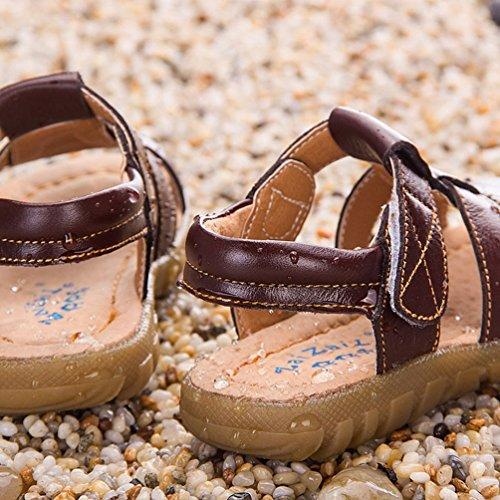 Été Chaussure de Marche Bébé - Sandales Bout Fermé à Scratch Marron