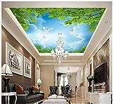 Mznm 3D-Foto Deckenleuchte 3D Tapete Fototapete Wandmalereien Himmel Baum Äste Blätter Weiß Tauben Deckenleuchte Dächer Wandmalereien Dekoration 200x140cm