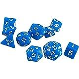 10pcs / Dés Multi-faces Définies Jeux TRPG Dungeons & Dragons D4-D30 Bleu