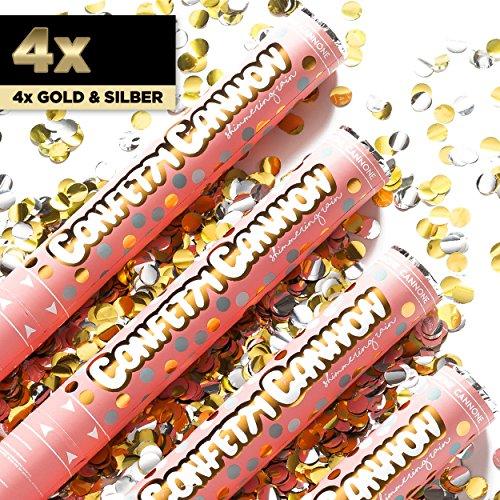 4x XL Konfetti-Shooter Silber & Gold Metallic Circles Konfetti Rund 40 cm - Party Popper Konfettikanone Konfettishooter Streamer - für Silvester, Hochzeit, Party, Geburtstag & Co. - PARTYMARTY GMBH®