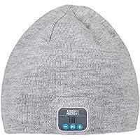 August EPA20 – Bluetooth Mütze – Winter Beanie mit Bluetooth Stereo Kopfhörer, Mikrofon, Freisprechen und integriertem Akku – Kompatibel mit Smartphones, Handys, Tablets, iPhone, iPad, Laptops (Grau)