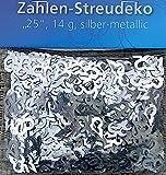HEKU® Tischstreu Tischkonfetti Streudeko 14g. metallic (7,14€/100g) (Zahlen 25 silber)