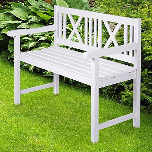 Miadomodo–Gartenbank weiß aus Fichtenholz