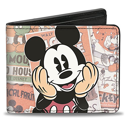 Buckle Down Men's Bi-Fold Wallet, Classic Mickey Sitting Pose Close/up Stacked Comics, Standard Size